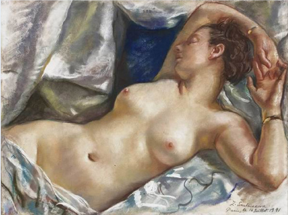 Reclining female nude painting words