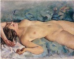 Reclining nude on blue background (1927)