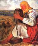 Peasant woman with beer barrel.