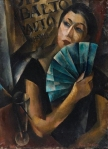 Portrait of a young woman with blue fan. (1919)