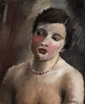 Young woman with red necklace