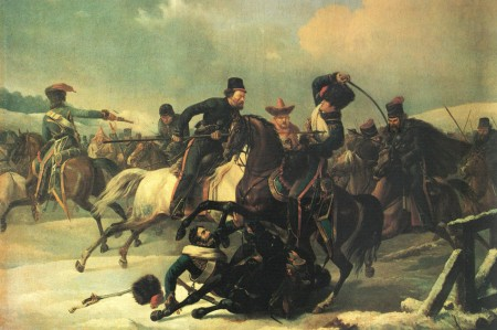 Cossacks harass the retreating French, by Auguste-Joseph Desarnod