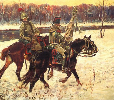 Two French hussars, by Wojciech Kossak.