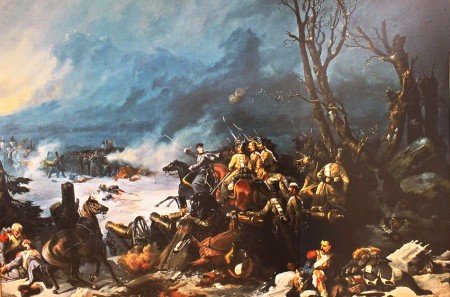 Colonel Nikitin's troops advance at the Battle of Krasnoy, 1812, by Mikhail Mikeshin