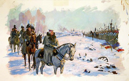 Kutuzov before the Preobrazhensky regiment with the captured French banners, by Andrei Nikolayev.