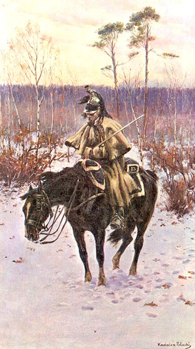 A retreating Frenchman, by Casimir Pulaski.