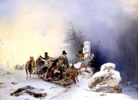 The flight of the French with families from Russia, by Bogdan Willewalde.