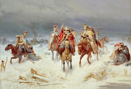 Flight of the French towards Berezina, by Bogdan Willewalde.