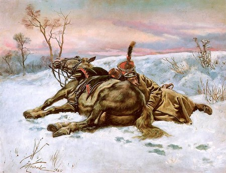 Hussar in the snow, by Wojciech Kossak.