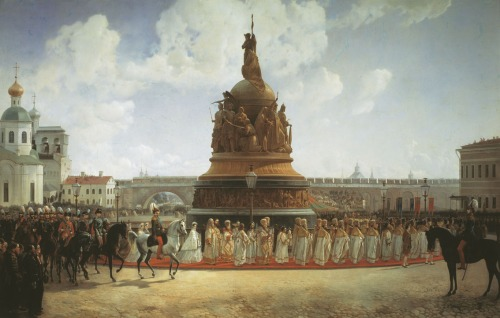 Inauguration of the monument 'A Millennium of Russia' at Novgorod in 1862. (1864).