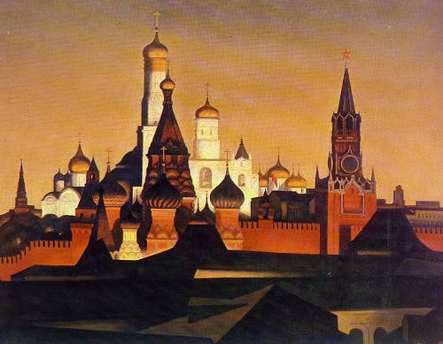 Moscow Kremlin at night, Pyotr Ossovsky. (1979).