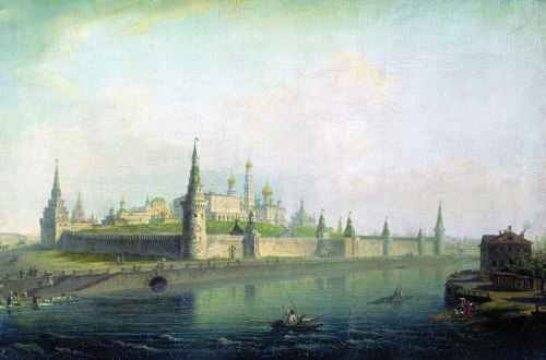 View of the Kremlin from the direction of the stone bridge, by Maxim Vorobyov. (1819).