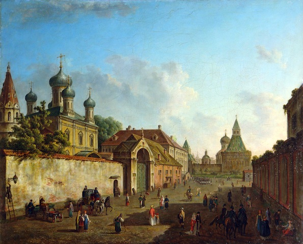 View of the Church of Our Lady of Grebnev and the Vladimirsk Gate of Kitai-gorod, 1800.