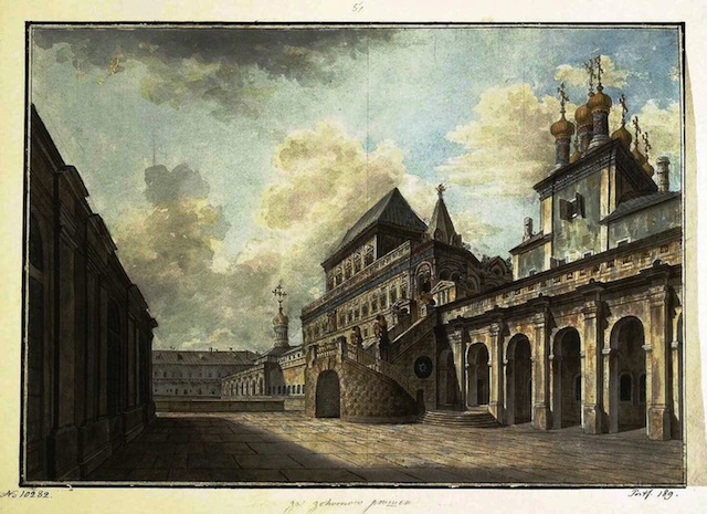 View of Church behind gold bars and the Terem Palace, 1811.