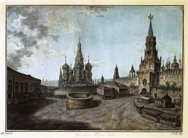 St Basil's Cathedral and the Spassky gate, 1800.