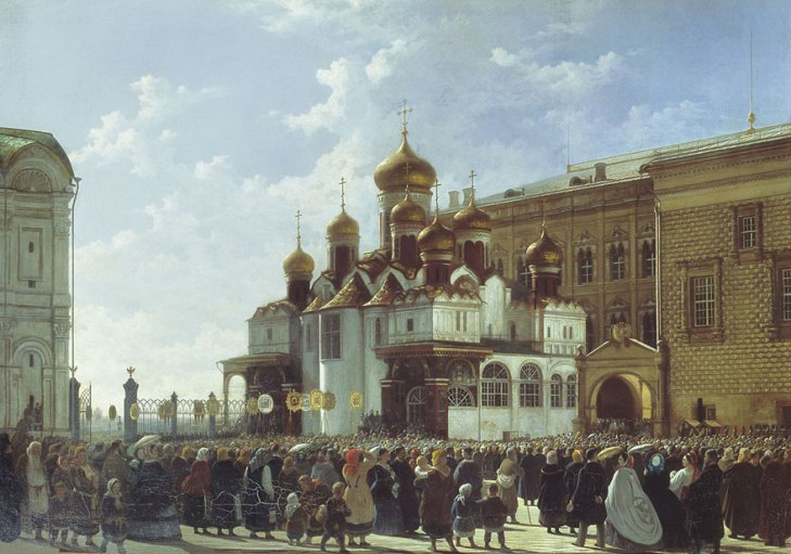 Religious procession at the Annunciation Cathedral, by Karl-Friedrich Baudry (1812-94). (1860).