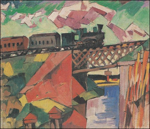 Bridge with train. (1918).