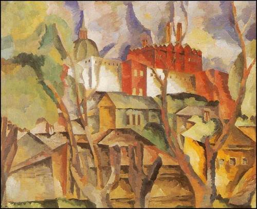 Landscape with dry trees. (1920).