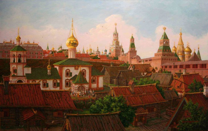 Skirts of the Moscow Kremlin in the XVII century, by Sergey Glushkov. (2008).