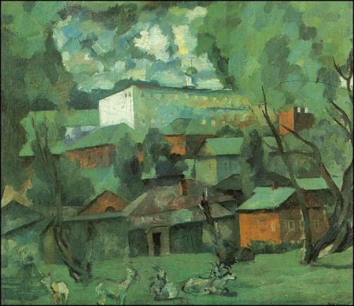 Landscape with goats. (1921).