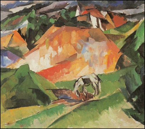 Landscape with white horse. (1918).