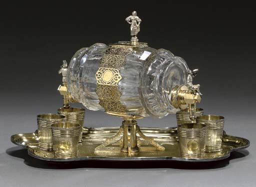 Silver-gilt glass vodka set. (1873).
