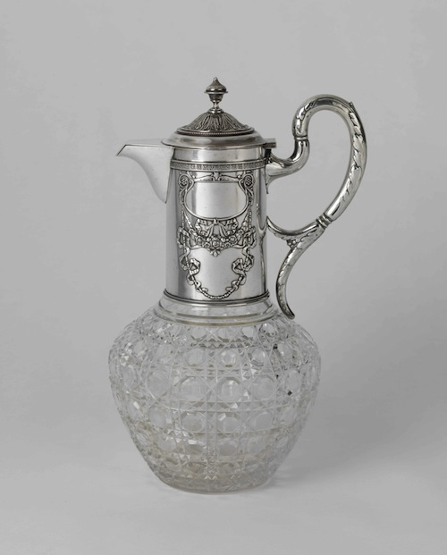 Silver-glass decanter. Khlebnikov's mark. (1908-1918).
