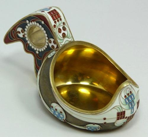 Russian imperial silver-enamel kovsh.