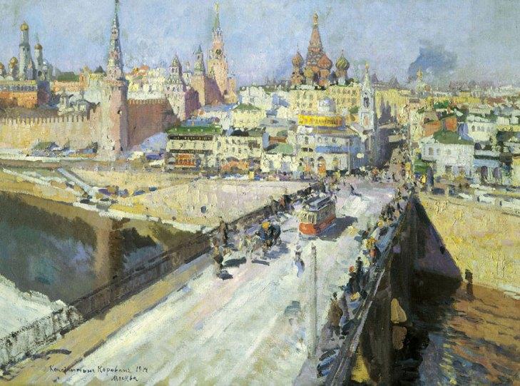 Moskvoretsky bridge, by Konstantin Korovin (1861-1939). (1914).