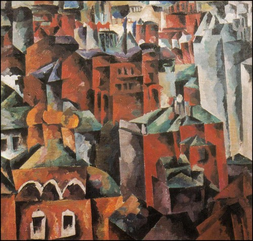Landscape with yellow church. Moscow (Sadovaya). (1919).