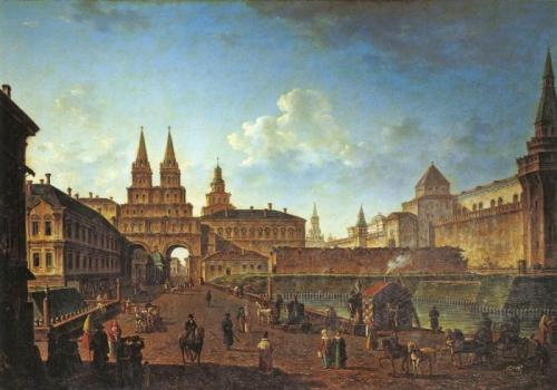 View of the Resurrection Gate and Neglinny Bridge from Tverskaya Street, 1811.