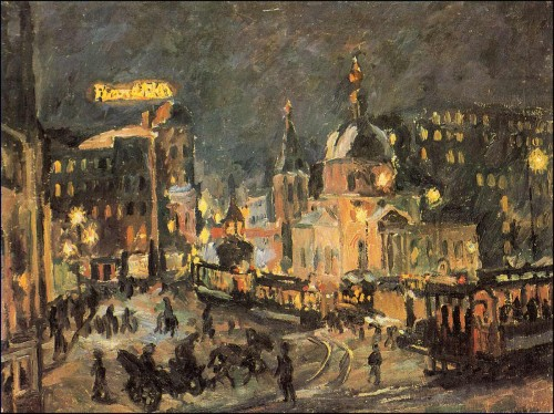 Passion Square at night. Moscow. (1928).