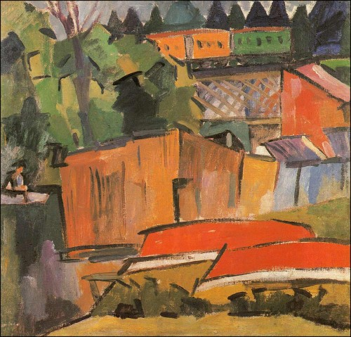 Red boats and railway bridge. (1918).
