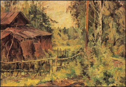 Woodshed after the rain. (1940).