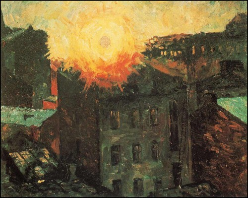 Sun over the roofs. Sunrise. (1928).