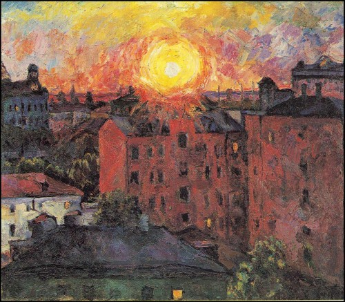 Sun over the roofs. Sunset. (1928).