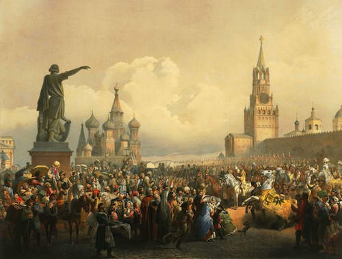 Coronation festivities on the Red Square, by Vasily Timm (1820-95). (1856).