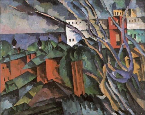 Landscape with dry trees and tower. (1920).