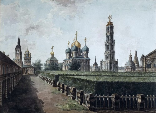Trinity Sergius Lavra: View of the Assumption Cathedral, the belfry and refectory, 1800.