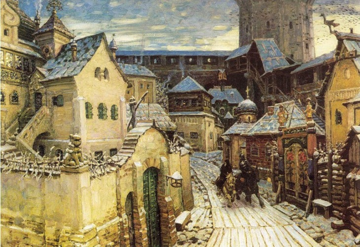 Messengers. Early morning in the Kremlin. Beginning of the 17th century,  by Apollinary Vasnetsov.