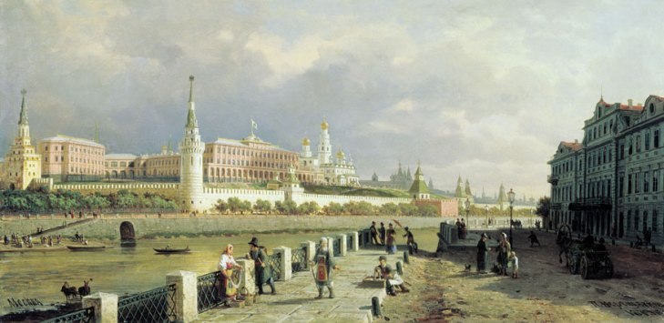 View of the Moscow Kremlin, by Pyotr Vereshchagin (1834-1886). (1879).