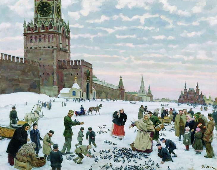 Feeding of the pigeons on the Red Square (1890-1900), by Konstantin Yuon.