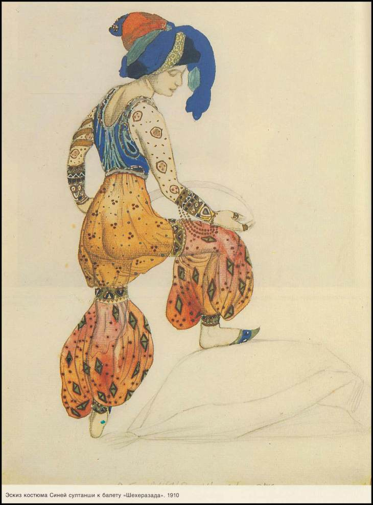Costume for the blue sultana in Scheherazade. (1910).