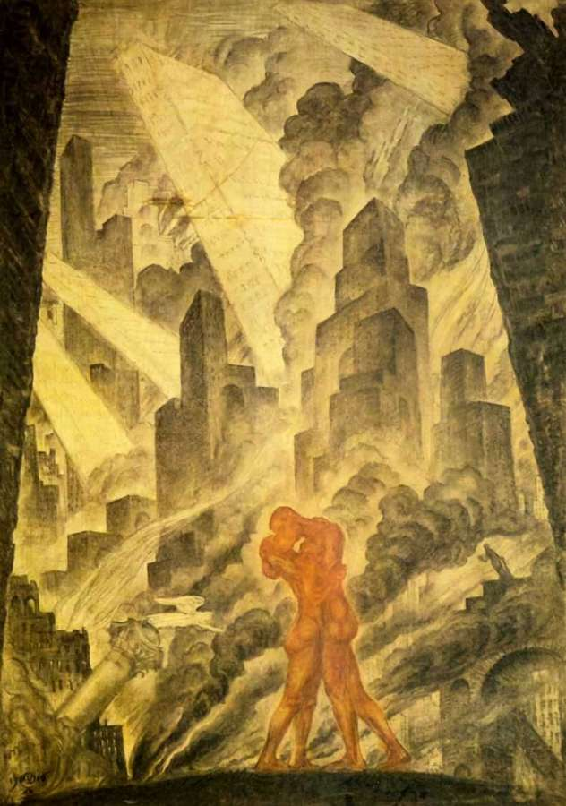The Kiss, by Dobzhinsky. (1916).