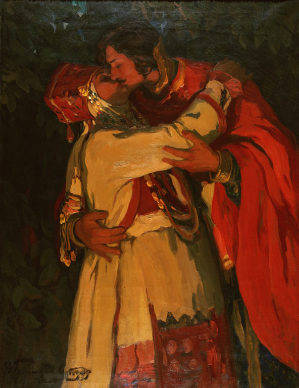 The Kiss, by Ivan Goryushkin-Sorokopudov. (1910s).