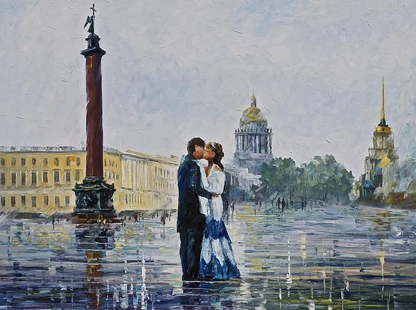 Kiss in St. Petersburg, by Leonid Afremov.