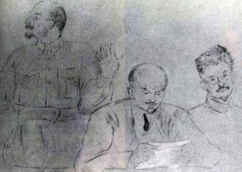 Lunacharsky, Lenin, Trotsky. (1920).