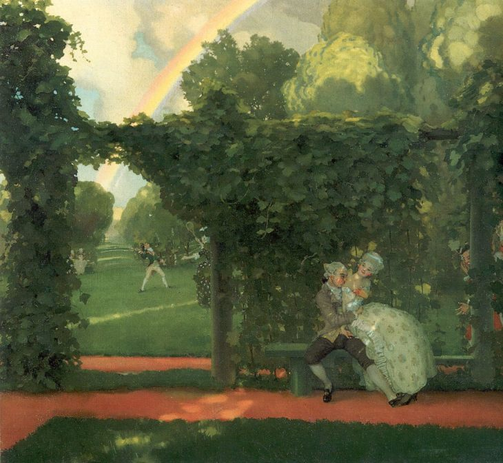 Ridiculed Kiss, by Konstantin Somov. (1908).