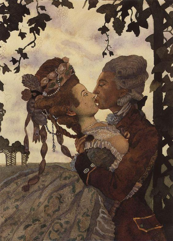 Kiss, by Konstantin Somov. (1914)