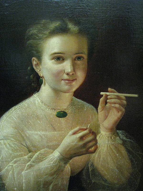 Young woman with cigarette, by Pyotr Zabolotsky.